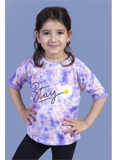Toontoy Kids Toontoy Kız Çocuk Batik Desenli Baskılı Tişört Lila